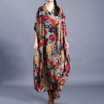 Abstract Floral Printed Loose V-neck Dress
