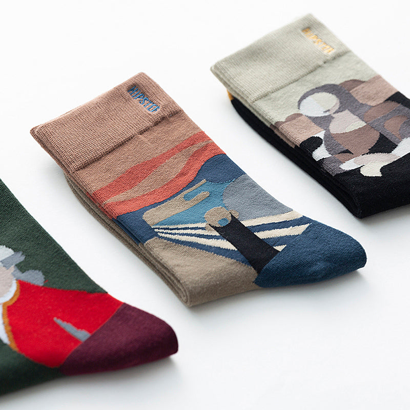 Abstract Oil Painting Casual Socks - 3 Pairs