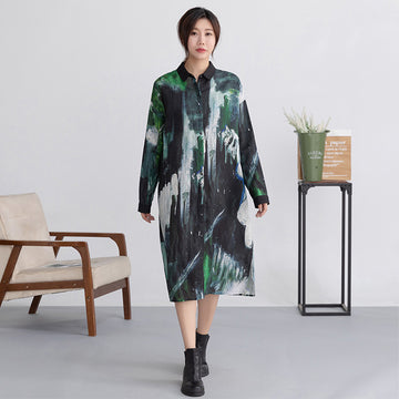 Abstract Painting Ramie Long Shirt