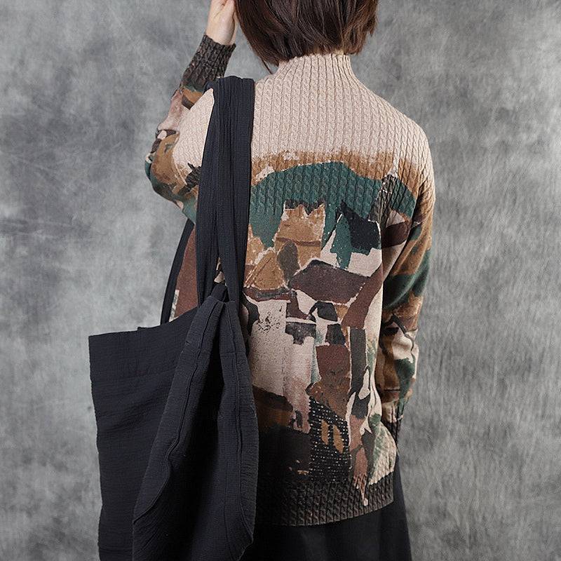 Abstract Pattern Casual Comfortable Sweater