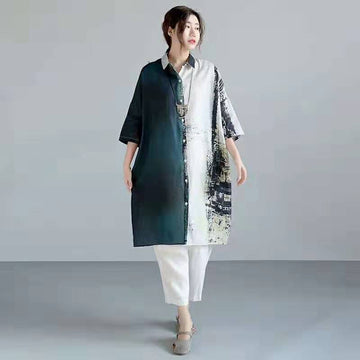 Abstract Print Casual Loose Long Shirt