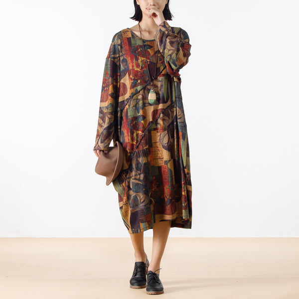 Abstract Print Multicolor Autumn Loose Dress