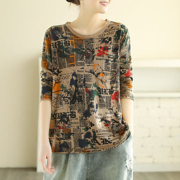 Abstract Print O-neck Knitted Shirt