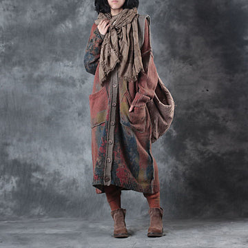 Abstract Printed Retro Loose Knit Coat