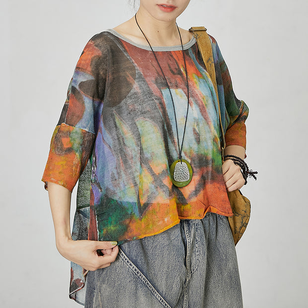 Abstract Printed Split Loose Knitting T-shirt