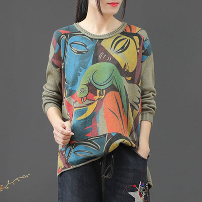 Abstract Round Neck Slit Loose Knit Sweater