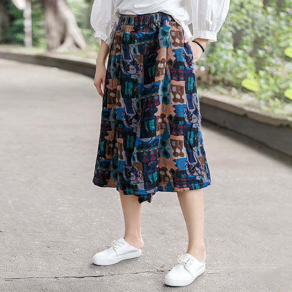 Abstract Cotton Casual Women Wide Leg Pants