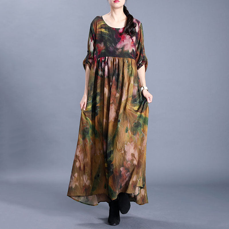 Adjustable Sleeve Floral Printed Stitching Dress