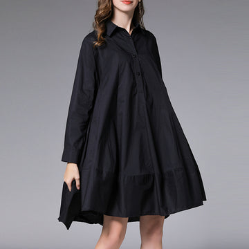 Oversized Adjustable Sleeve Solid Color Fashion Shirt Dress