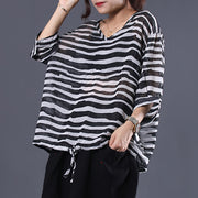 Adjustable Waist Stripes Casual Loose Blouse