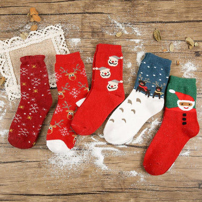 Adult Christmas Thick Socks Polyester