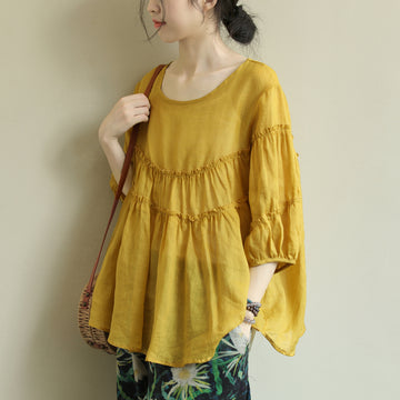 Agaric Lace Pure Color Half Sleeve Polyester Blouse