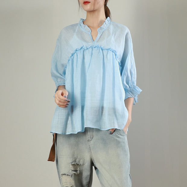 Agaric Lace Pure Color Loose Blouse