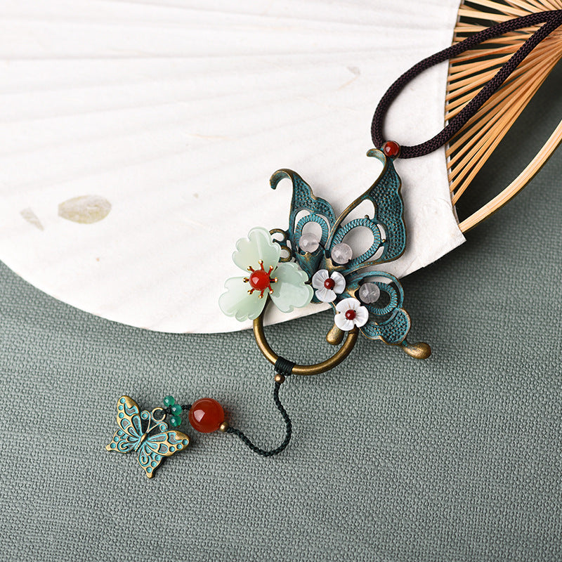 Alloy Butterfly Shell Flower Long Necklace