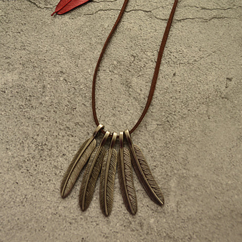 Alloy Feather Pendant Long Necklace