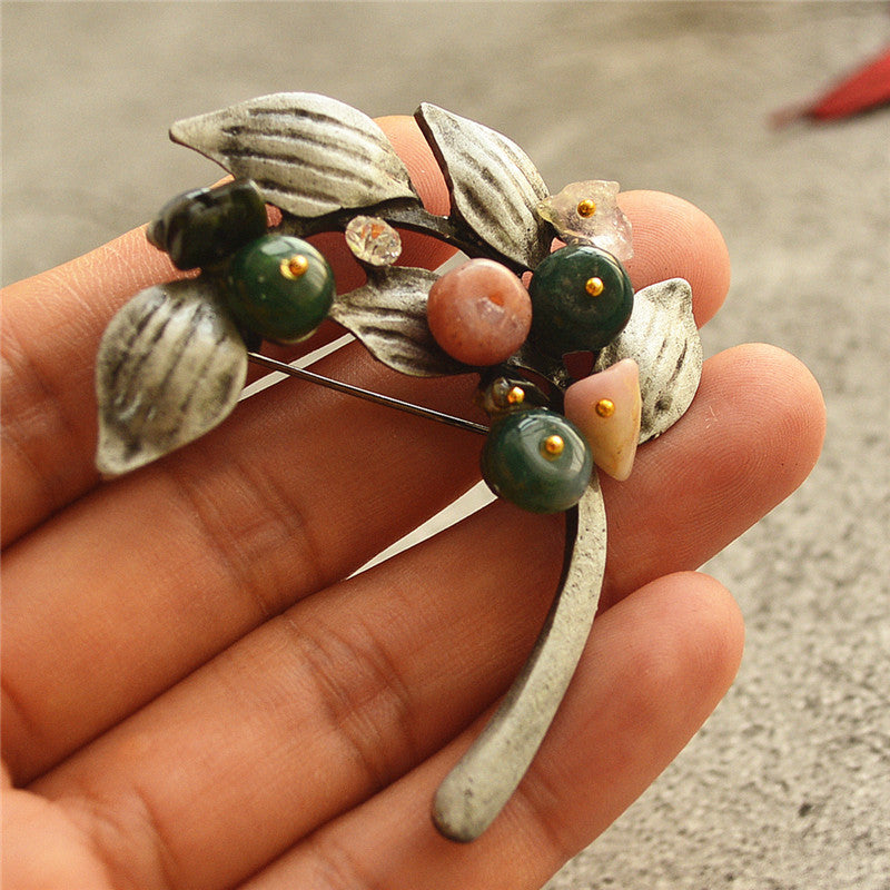 Alloy Leaf Color Stone Long Necklace