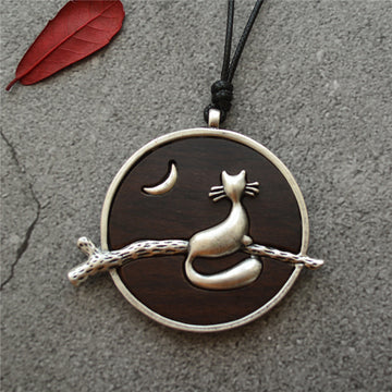 Alloy Moon Cat Ebony Pendant Long Necklace