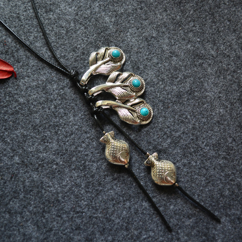 Alloy Retro Fish And Leaves Female Necklace