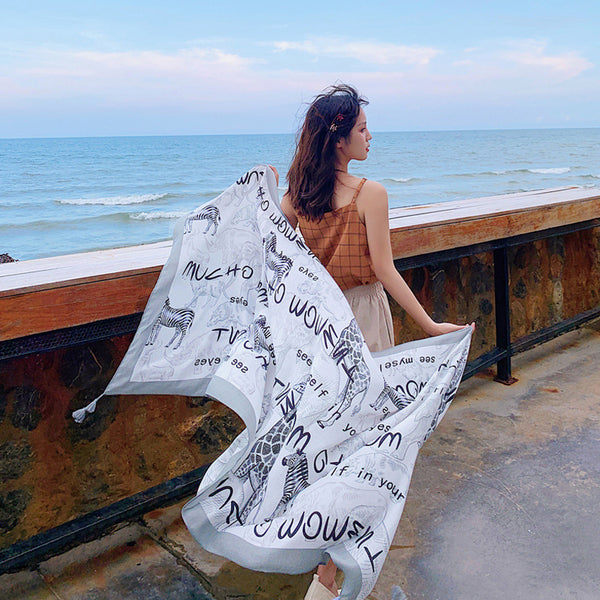 Animal And Letter Printed Breathable Scarf