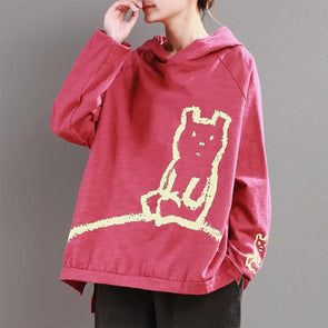 Animal Cute Print Pullover Autumn Casual Hoodie