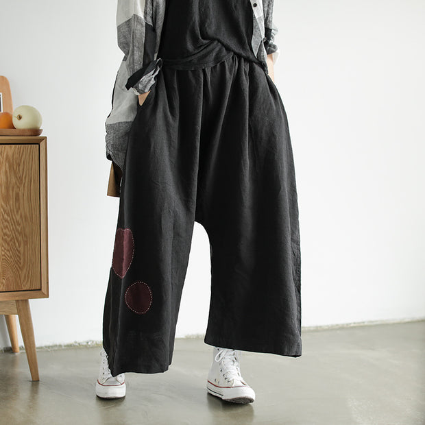 Applique Dot Retro Loose Harem Pants