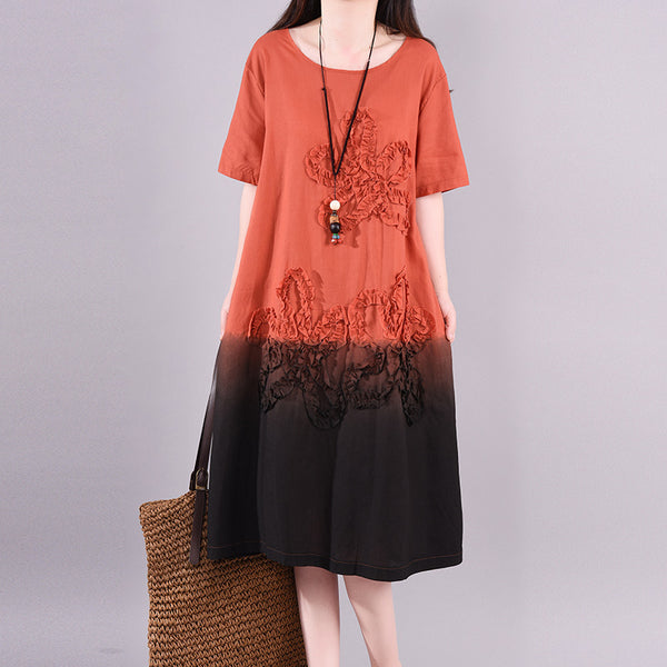 Applique Flower Gradient Color Loose Dress