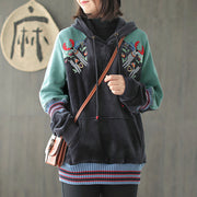 Applique Plant And Elk Casual Hoodie