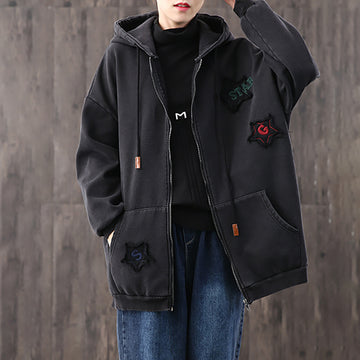 Applique Zipper Retro Hooded Coat