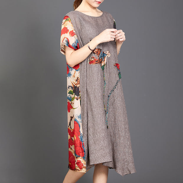 Appliques Floral Printed Casual Round Collar Dress