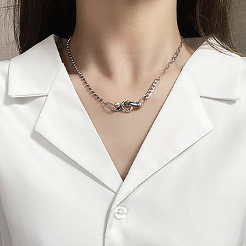 Asymmetric Silver Short Necklace