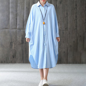 Asymmetry Long Sleeve Women Shirt Dress