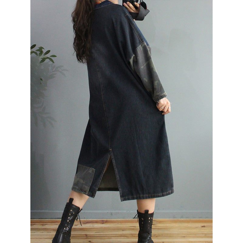 Autumn Big Pocket Stitching Denim Dress