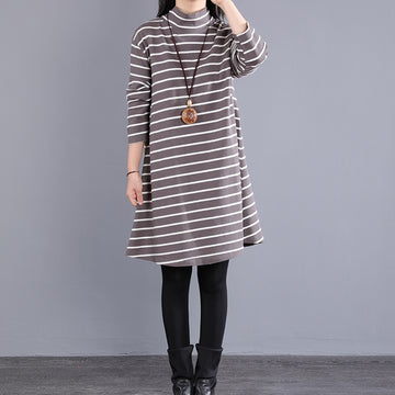 Autumn Casual 100% Cotton Striped Dress