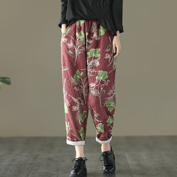 Autumn Casual Retro Flower Cotton Pants