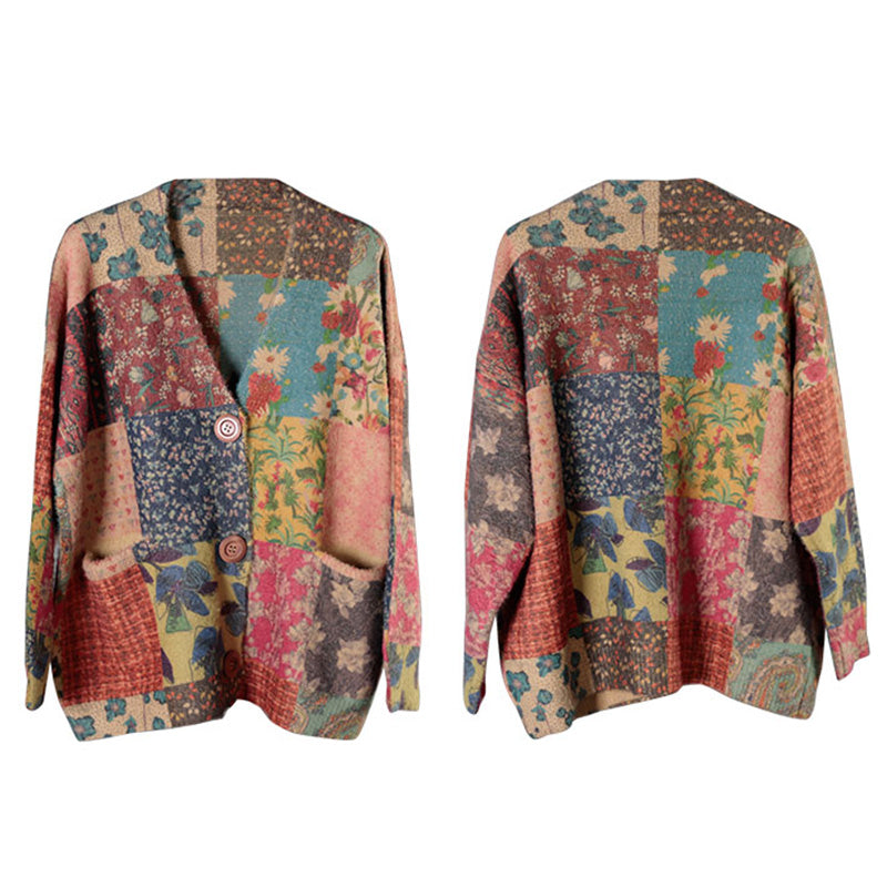 Autumn Colorful Flower Knitted Sweater Coat