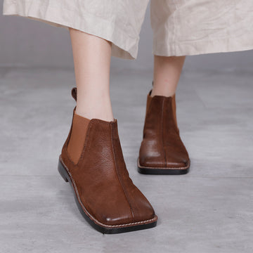 Autumn Elastic Band Casual Leather Boots