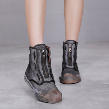Autumn Female Zipper Flat Leather Boots