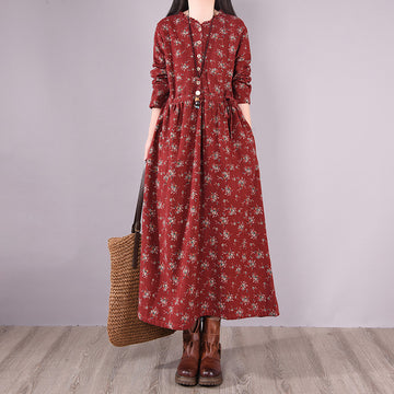 Autumn Floral Button Drape Pocket Dress
