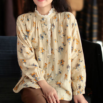 Autumn Floral Lace Stitching Button Top