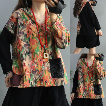 Autumn Floral Print Stitching Pocket Blouse