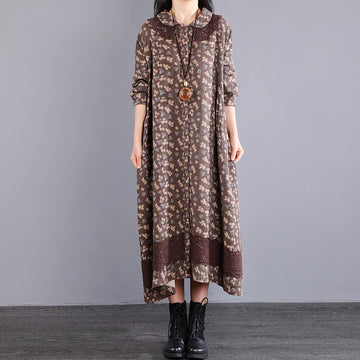 Autumn Floral Single Breasted Loose Dress