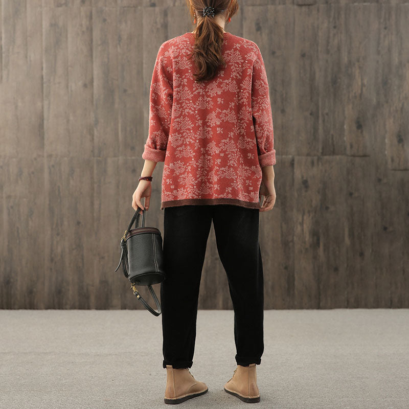 Autumn Knitted Pocket Split Hem Sweater