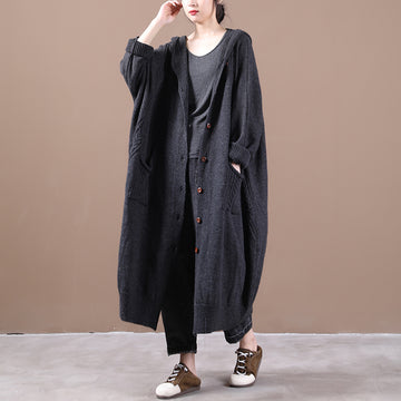Autumn Knitted Pure Color Hooded Coat