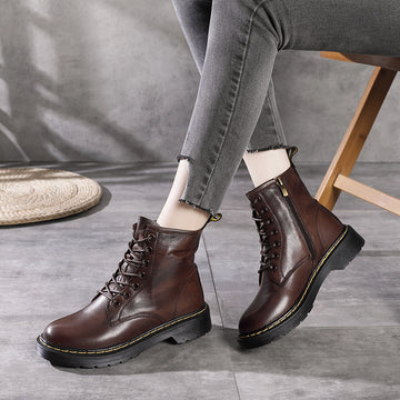 Autumn Lacing Wild Leather Short Boots