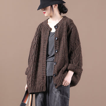 Autumn Loose Knitted Single Breasted Coat