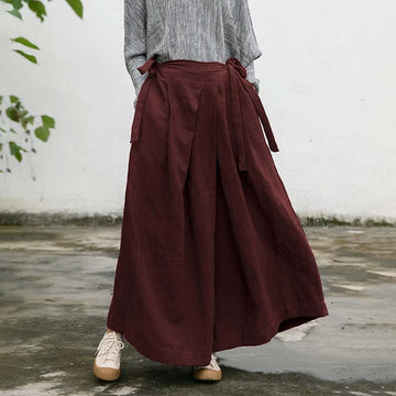 Autumn Loose Retro Lace-up Pocket Pants