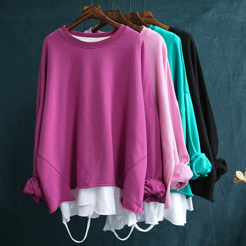 Autumn Loose Stitching Pure Color Sweatshirt