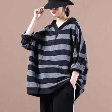 Autumn Loose Striped Hooded Sweatshirt