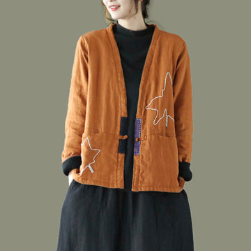 Autumn Maple Embroidered Thick Coat