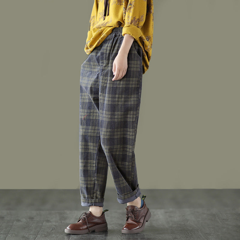 Autumn Plaid Corduroy Elastic Waist Pants